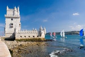 Famous Belem tower. Tagus river; Lisbon; Portugal.